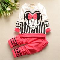 4set Children girl's 2015 Autumn long sleeve Mickey top+pants  Casual 2-piece/set XXG0053