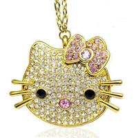 Creative Gift Hello Kitty Cat Jewelry Usb Flash Drive 64GB 32GB 16GB 8GB Usb 2.0 Pendrive Computer USB Memory Stick Disk Gifts