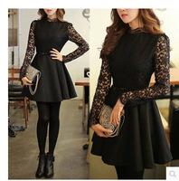 new spring 2015 sexy dresses women vintage casual lace patchwork hollow turtleneck long sleeve slim mini tutu dress black S-XL