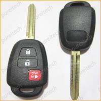 wholesale 10pieces/lot black plastic 2+1 button toyota remote car key blanks custom