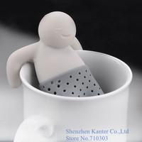 Creative Gift Mr.Tea Infuser Strainer Silicone Tea Leaf Strainer Herbal Spice Filter Diffuser, 20pcs/lot