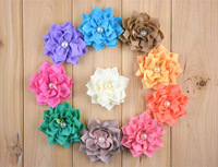 Free Shipping 50pcs / lot 10 colors 8cm Pearl Center  Chiffon Fabric Sharp Petal Winter Flowers FLAT BACK for hair accessories