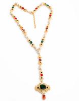 Noble Luxury Gold Necklace 2015 New Design Imitation Gemstone Agate Jewelry Fashion Long Pendant Necklace