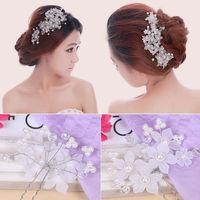 4pcs Crystal New Lace Pearl Flower Party Bridal Headband Hair Pin Tiara  S7NF