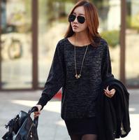 2015 new spring knitted dresses women vintage casual bat sleeve long sleeve slim elegant straight mini dress tops