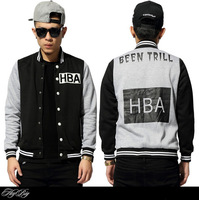 Baseball fall and winter jacket 2014 Tide brand hood by air HBA been trill youth hip hop skateboard casual coat outdoor jackets