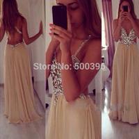 Deep V neck Opening Back Sexy Prom Dress 2015 vestidos A line Khaki Chiffon Floor Length Formal Dress Evening Gowns