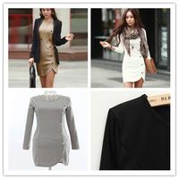 2015 New Women Dress Long Sleeve Fashion Sexy Dress Mini Dresss Long Sleeve Plus Size M LXLXXL