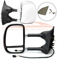 US Free Shipping ! Towing Chrome Power Side View Door Mirrors Pair Set  99-07 for Ford Super Duty Truck