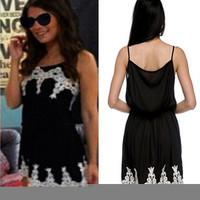 Plus Size Vestido 2015 Fashion New Women Black Lace Sleeveless Patchwork Mini Slim Casual Dress Evening Party Wear