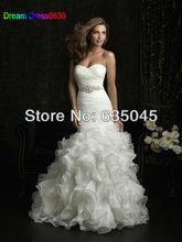 Vestido De Noiva 2015 New Custom Made Ivory Organza Pleat Ruffles Bow Beading Crystal Mermaid Wedding