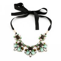 Dainty Created Gemstone Ribbon Collar Necklace 2015 Joyas Collares Bijoux Costume Jewelry