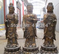 "[wholesale_jewelry_wig ] free shipping 40""Tibet Bronze Three Saints of West Sakyamuni carved full systemic Buddha Set"