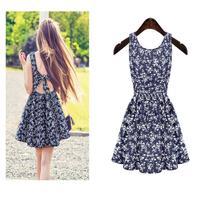 2015 Women Summer Dress High Street Blue Denim Floral Cute Sleeveless Bow Backless girl kawaii Vest Party Dresses