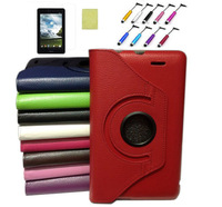 """360 Degree Rotating Leather Case Stand Cover + Protective Film + Stylus For 7"""" ASUS MeMO Pad ME172V ME172"""