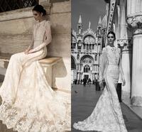 Exquisite Lace Mermaid Vestidos De Novia High Neck Floor Length Long Sleeve  Court Train Appliqus Wedding Dress
