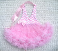 Free shipping Retail princess pink summer baby girls dancing clothing princess chevron kids dress KP-CPD006