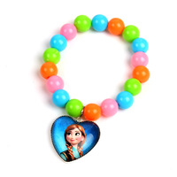 12pcs/lot Frozen Princess Elsa Anna colorful glass beads bracelet,Girls gift