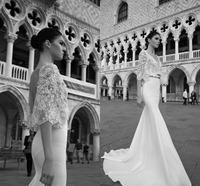 Mermaid Wedding Dresses Handmade Flowers Lace V Neck Half Sleeve Court Train Backless Satin Romantic Wedding Dress