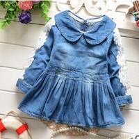 Free shipping 2015 spring  Korean baby girls denim dress long sleeve Lapel flowers dress A352