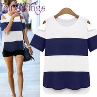 2015 new fashion spring summer women t shirt blouses blusas femininas elegant shoulder stripes tops women blouses shirt PH2709