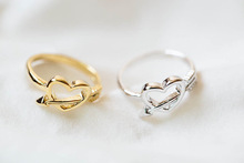 1 Piece-R72 New Fashion Design Ancient Cupid Arrow and Heart Shaped Alloy Metal Finger Ring for women -Free shipping over $10