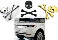Free shipping 10pcs 3D Personalized Car Sticker Skull Badge Auto Metal Skull Bone Logo Decorative Part For Jeep SUV Harley H