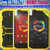 2015 New Jeep A8 JeepA8 4G Waterproof IP68 5.5''960x540P IPS Qualcomm Snapdragon 1GB 8GB 2.0MP 8.0MP 3000mah WCDMA FDD-LTE 4.4.4