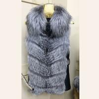 Free Shipping 100% Genuine Sheepskin Jacket with Real Silver Fox Fur Fox Outwear Coats for Women Jacket