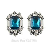 Brincos Vintage Fashion Design Imitation Sapphire Stud Earrings New Women Big Earrings 2014