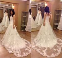 Vestidos De Novia 2015 Sweetheart Sleeveless Appliques Lace Wedding Dress A Line Long Bridal Gown Vestido de Casamento