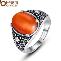 Bamoer Classic Antique Silver Retro Finger Ring for Men with Orange Opal Stone Male Jewelry VTR003