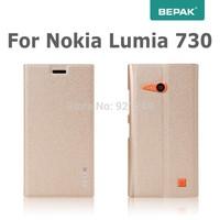 New-est For Nokia Lumia 730 Leather Case  BEPAK Flip Case For Nokia Lumia 730 735 Case+Screen Protector+Retail Box Freeshipping