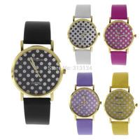 1pc High Quality 5colors Fashion geneva women watches Leather Dots Wacth Women Analog quartz watch Leather Strap wristwatches