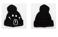 Winter Hats Wholesale Female Smile Warm Woolen Cap Flanged Bushing Head Knitting Smile Hats Warm Hat