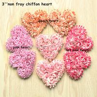 Free shipping 55 pcs/ lot  , 3'' shabby flowers  chiffon rose  heart   sweet rose chiffon heart   headband for  valentines  day