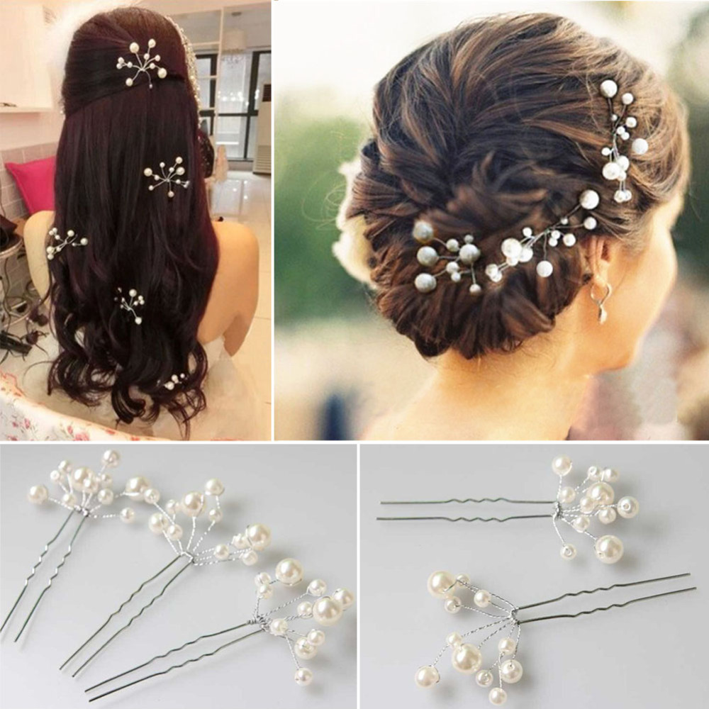 6Pcs Wedding Bridal bridesmaid Pearl Flower Headpiece Hair Pin Hairpin