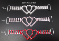 30pcs 105x25mm Valentine's Day  Hearts Crystal Rhinestone Connectors Silver RCM15-2