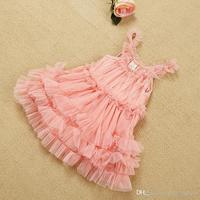 Hot sell summer children suspender princess dress girls falbala tulle tutu dress kids pink party dress 2-7T 3285