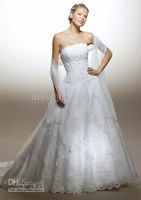 2015 New Stylish Graceful Wedding Dress strapless Neckline sleeveless Zipper Up Lace all Size Bridal Gown