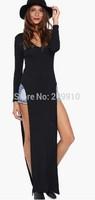 New Autumn Winter Roupas Femininas 2014 Casual T-shirt Style Side Split Maxi Dress Long Sleeve LC6738