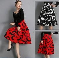 Women Vintage Maxi Skirt 2015 Spring Fashion Women Autumn Winter European Pleated High Waist Print Party Long Skirts S-XL