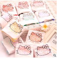(6 Pcs/Lot) Many Colors Option Kawaii Printing Leopard Bowknot Hello Kitty Cotton Lady Women Underwear