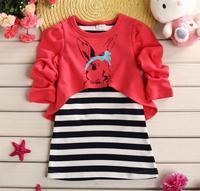 flower girls spring princess dress children rabbit printing dresses baby girl stripe patchwork dress kid fashion clothes JL-2231