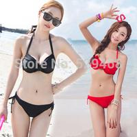 Beach Style Steel bracket together size chest womens sexy bikinis set Swimsuit push up bikini bathing suit Plus size  M L XL