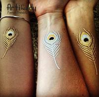 Artilady fashion big size chevron cute temporary tattoos set women tattoo set gold metallic temporary tattoos body art
