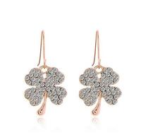 Fashion jewerly Clover Earrings Full drill short Earrings Stud Earrings  Free Shipping