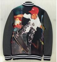 (Alice)Men's new striped 3d jacket back Skateboard Boy single breasted streetwear jacket men outerwears 2 colors J36