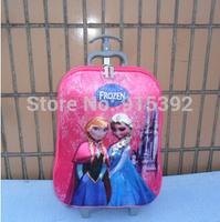 3D 17 inch pull rod box Frozen 3 Wheels Trolley School Bags children Cartoon Wheeled pull rod box Children Rolling Luggage