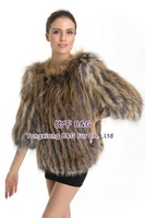 BG70705  Knit Genuine Silver And Golden  Fox Fur Clothes For Women Elegant Long Fur Coat Warm Fox Fur Coat